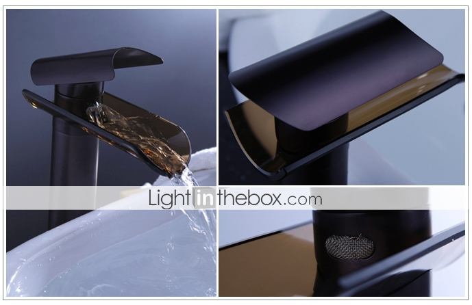 Contemporary Oil Rubbed Bronze Bathroom Vessel Vanity Sink: Contemporary Vessel Waterfall With Ceramic Valve Single