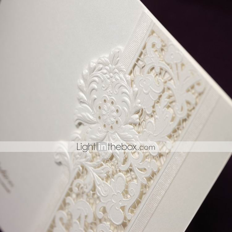6 Etl Business Requirements Specification Template Reyri: Delicate Ivory Lace Cut-out Tri-fold Wedding Invitation