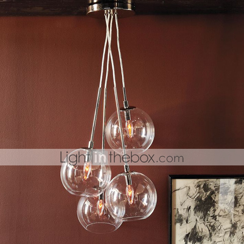 Industrial Drop Glass Pendant Flush Mount Lamp Lighting