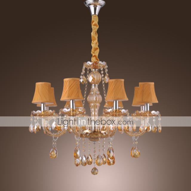 elegant retro chandelier 8 lights candle feature amber crystal fabric