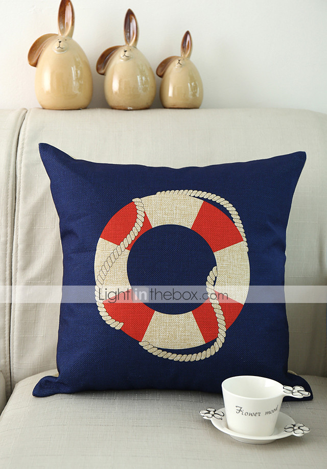 Set of 4 Nautical Pattern Cotton/Linen Decorative Pillow Cover 2363706 2017 ? $18.19