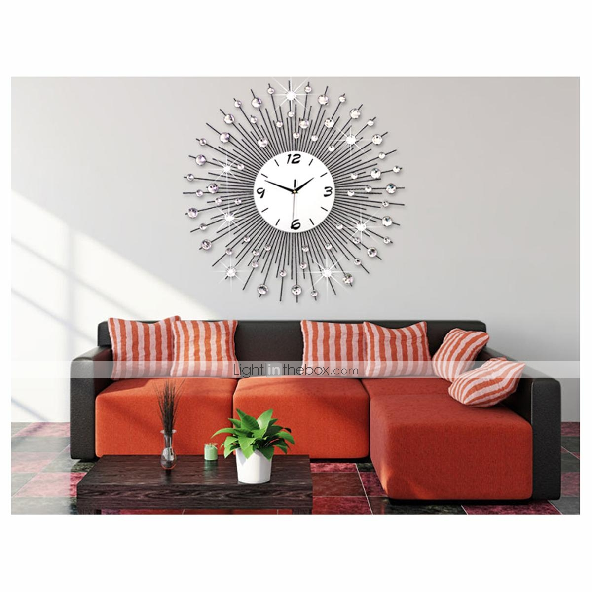 Extra large modern luxury scenic iron metal living room for Living room wall clocks