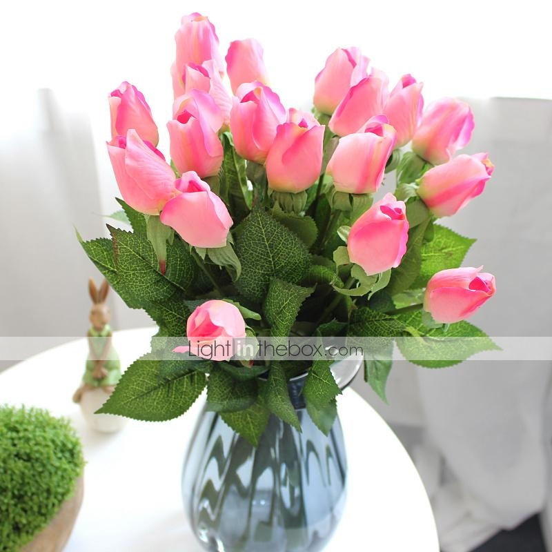 12pcs rosas verdaderas del tacto flores artificiales - Decoracion plantas artificiales ...