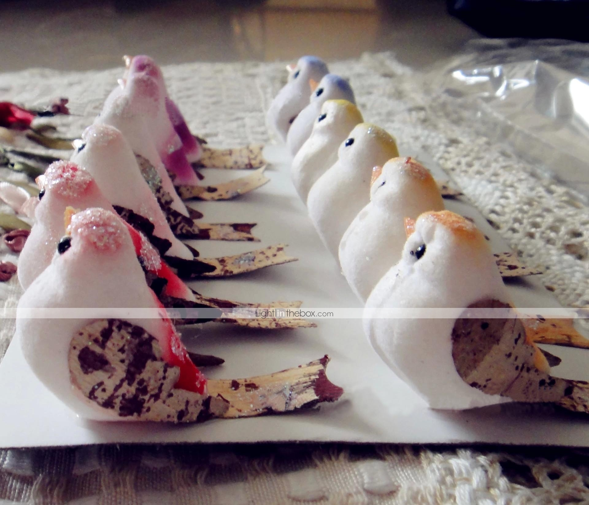 3 4cm 24pieces mixcolor main petits oiseaux artificiels for Oiseaux artificiels de decoration
