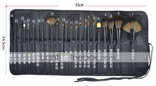24pcs Pony Hair Makeup Brushes Set Professional Wood