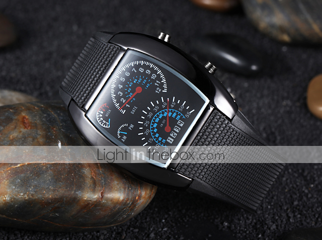 Men S Watch Sports Speedometer Style Led Digital Calendar