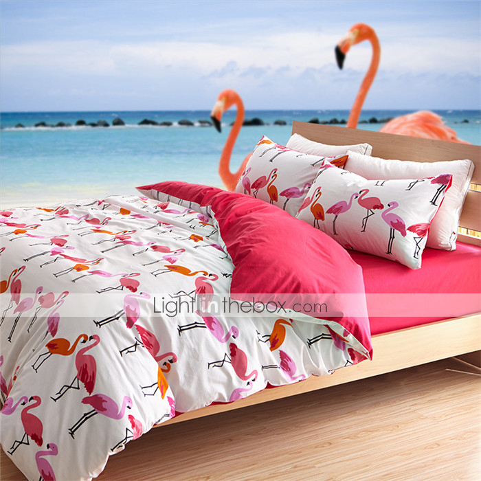 Flamingo Duvet Cover Sets 100 Cotton Queen King 3213532