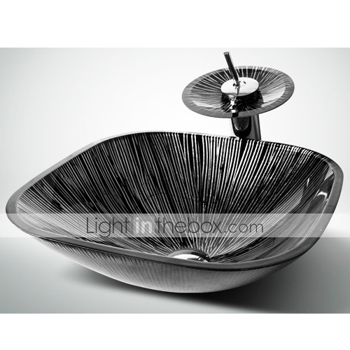 Black White Square Tempered Glass Vessel Sink With