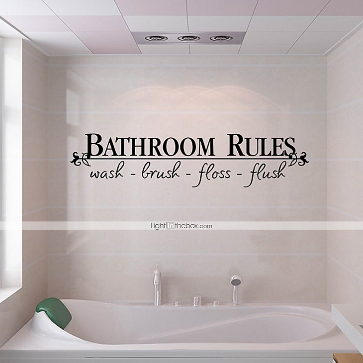 Wall Stickers Wall Decals Style Bathroom Rules English Words Quotes PVC