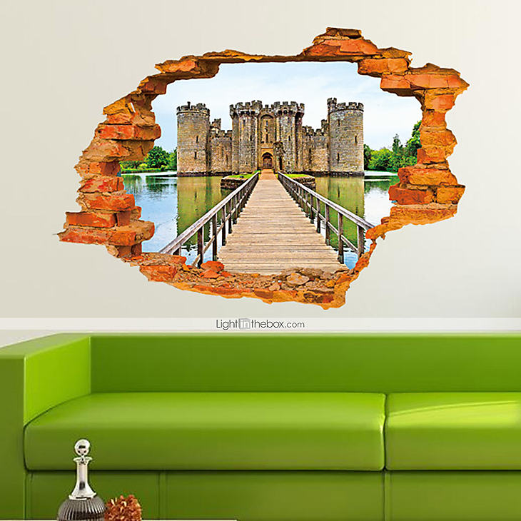 3d wall stickers wall decals style ancient castle fashion for Castle wall mural sticker