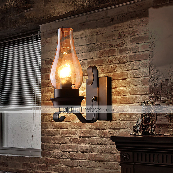 Rustic Bedside Wall Lamps : Retro Rustic Nordic Glass Wall Lamp Bedroom Bedside Wall Sconce Vintage Industrial Wall Light ...