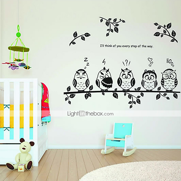 Wall stickers wall decals cartoon owls family pvc wall - Stickers salle a manger ...