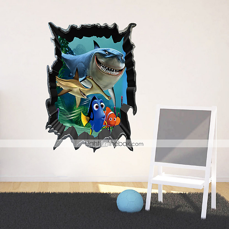 3d wall stickers wall decals shark pvc wall stickers