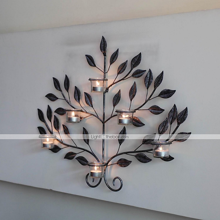 metal wall art wall decor antique do old small pointed leaves candlestick wall decor 2076641. Black Bedroom Furniture Sets. Home Design Ideas