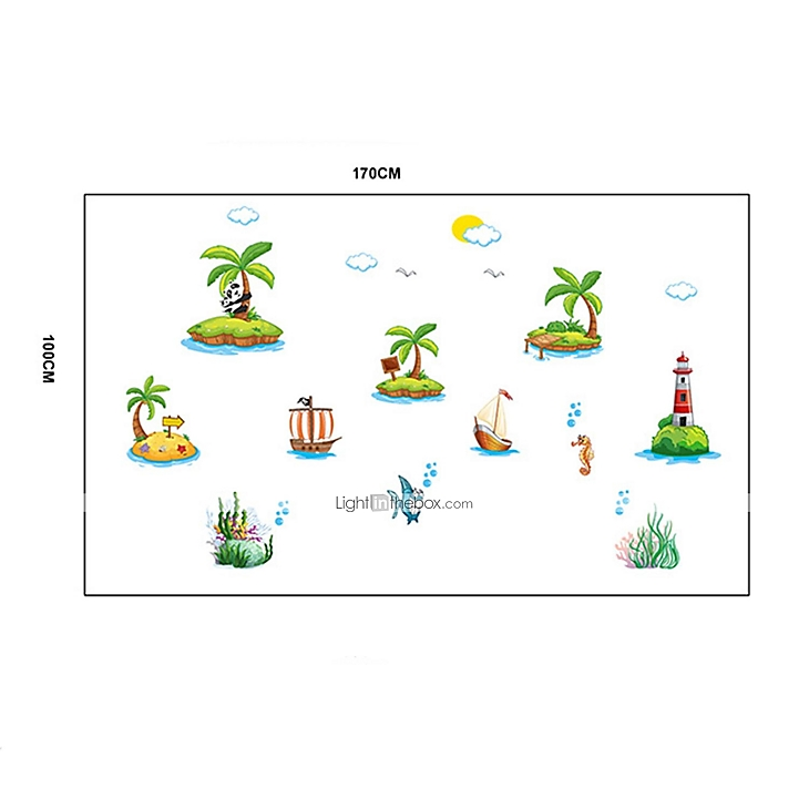 Sticker mural stickers muraux les les de sable de plage for Plage stickers muraux