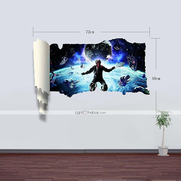 3d wall stickers wall decals outer space decor vinyl wall for Outer space vinyl wall decals