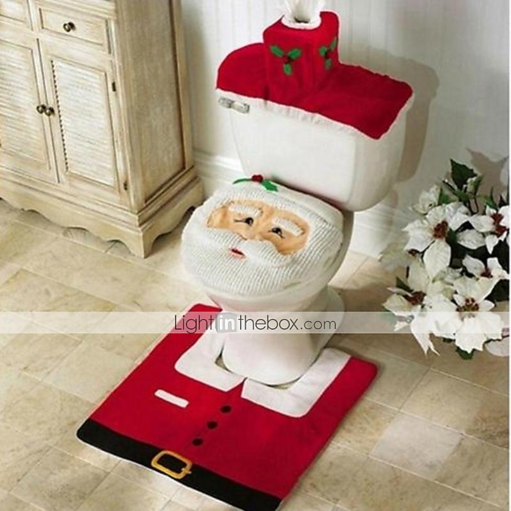 Christmas home decoration santa claus toilet lid cover with mat and water tank cover 2221966 - Deco wc rood ...