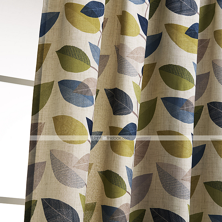 Minimalist Outdoor Contemporary Curtains Philips Young Two Panels Contemporary Minimalist Multi Color Leaves Curtain