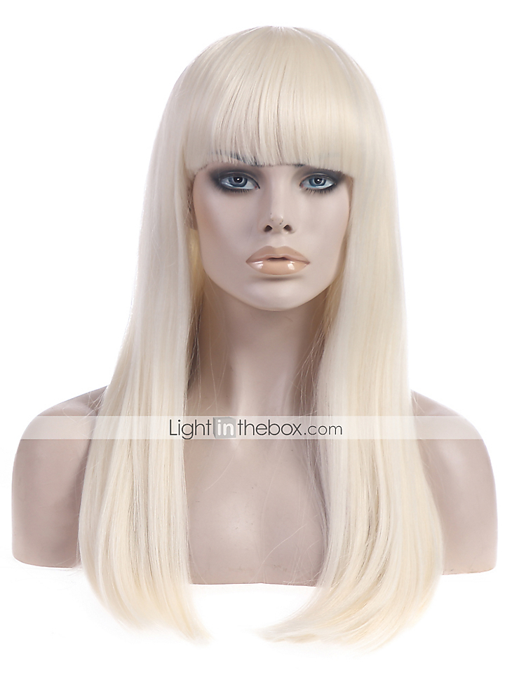 Long Straight Platinum Blonde Lady Gaga Poker Face Wig