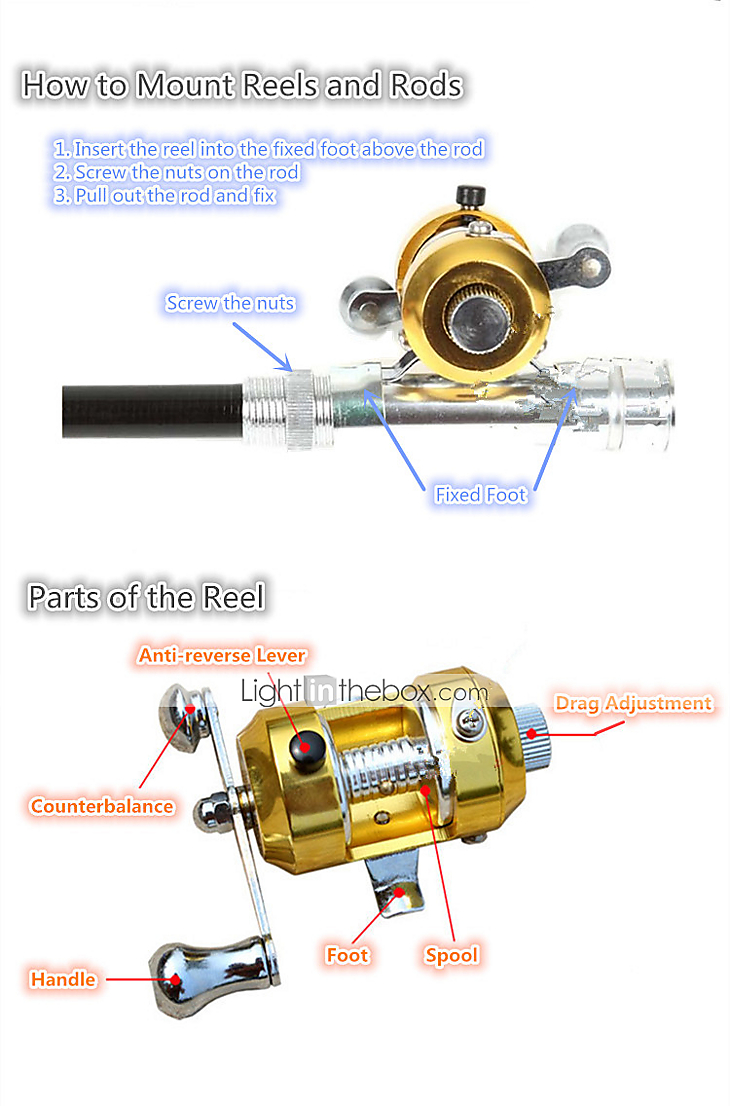 Mini Fishing Rod + Reel / Carbon Pen Rod & Trolling Reel ...