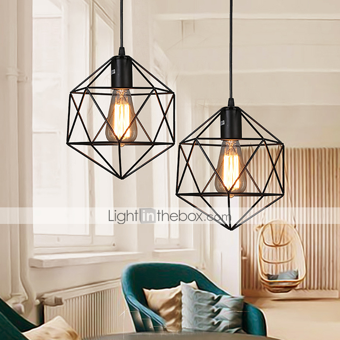 E27 5 15 geometrical line diamond wrought iron chandelier pendant lights led - Lampe ampoule suspension ...