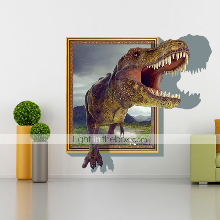 3d sticker wall dinosaur stickers for dining room kid room for Dining room 3d wall art