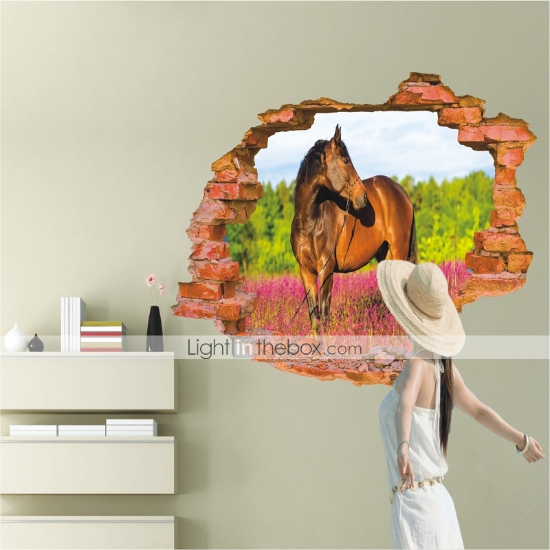 3d sticker wall horsestickers for dining room kid room for Dining room 3d wall art