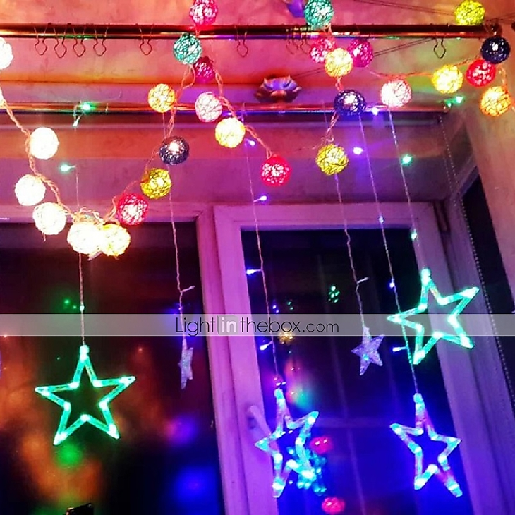Star Window Curtain With Tail Plug Multi Color String Lights Outdoor/Holiday/Bedroom/Birthday ...