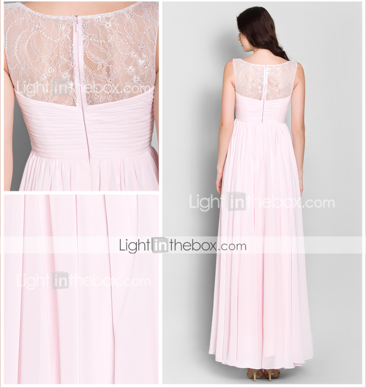 Ankle Length Chiffon Lace Bridesmaid Dress: Lanting Bride® Ankle-length Chiffon Bridesmaid Dress A