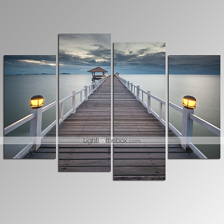 Canvas Wall Decor visual star®bridge on sea landscape canvas wall art modern wall