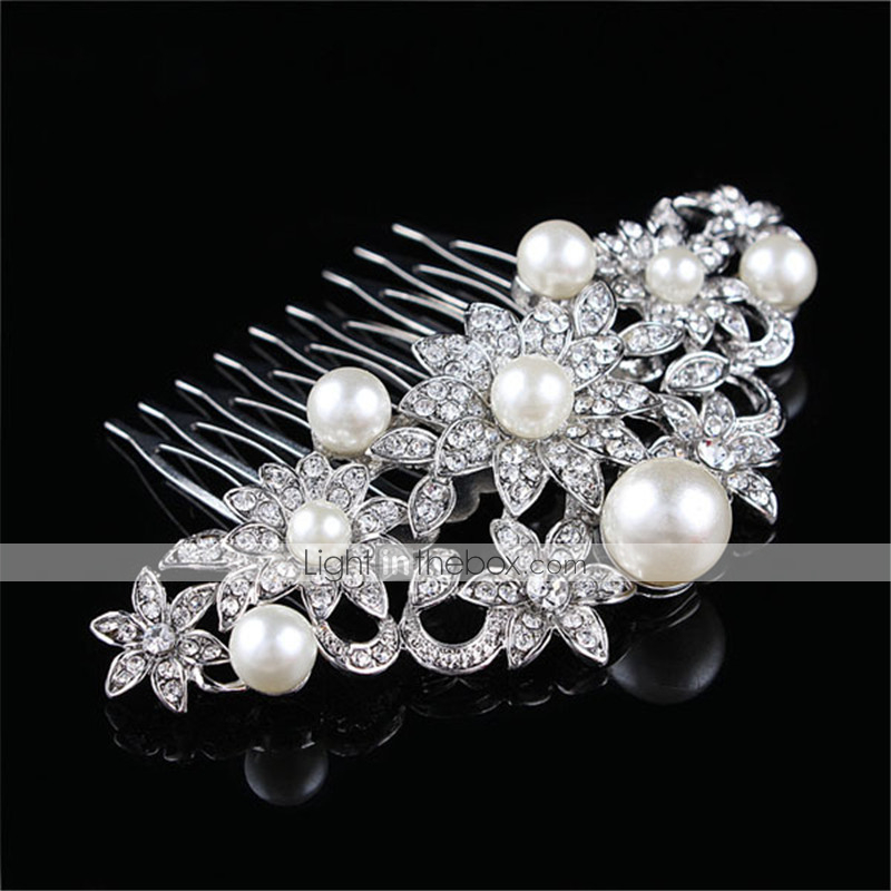 7inch Crystal Pearl Oval Wedding Photo Frame Metal Alloy: The New Combs Set Auger Pearl Alloy Bride Dish Hair