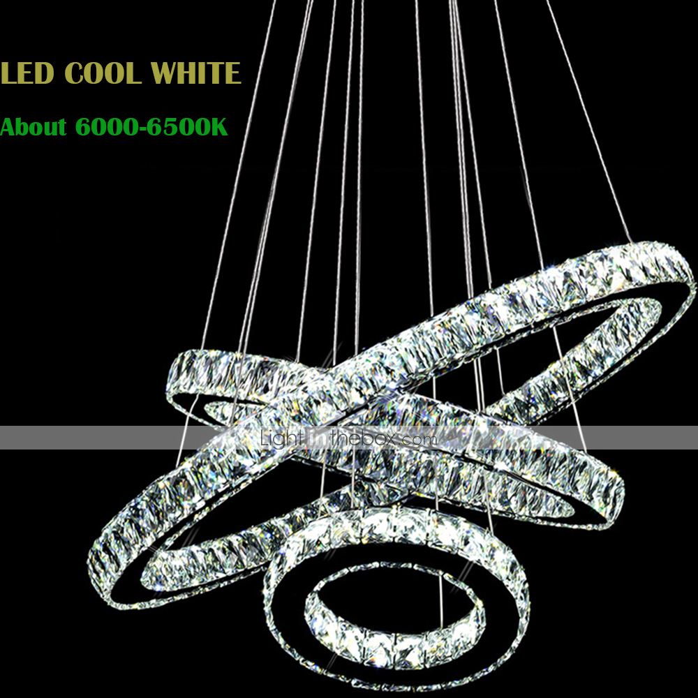 Large Contemporary Ceiling Lights : Led crystal pendant lights modern lighting three rings