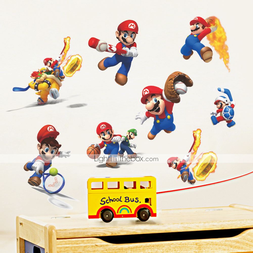 3d Wall Stickers Wall Decals Style Mario Waterproof