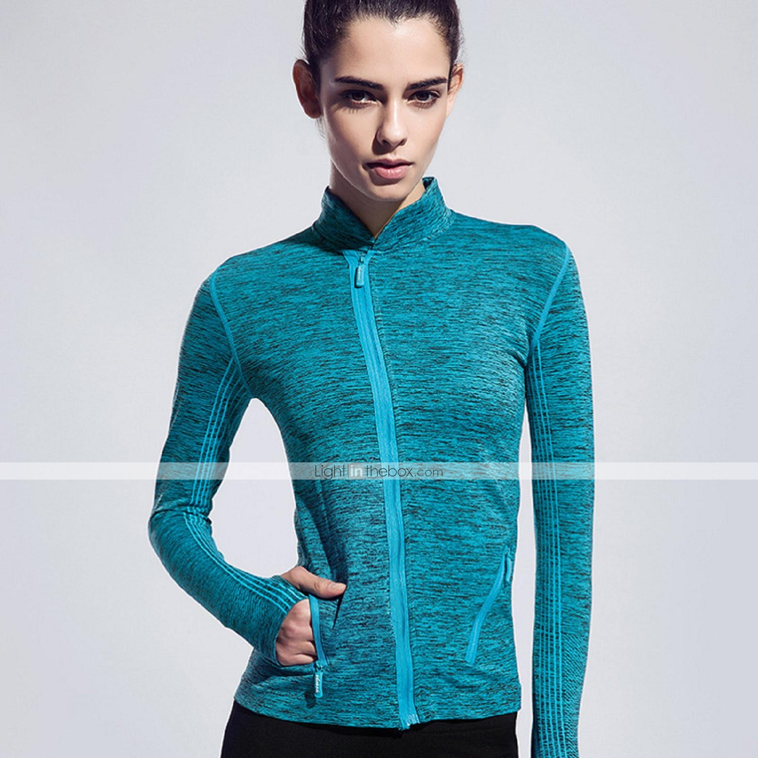Running t shirt jacket tops women 39 s long sleeve for Lightweight breathable long sleeve shirts