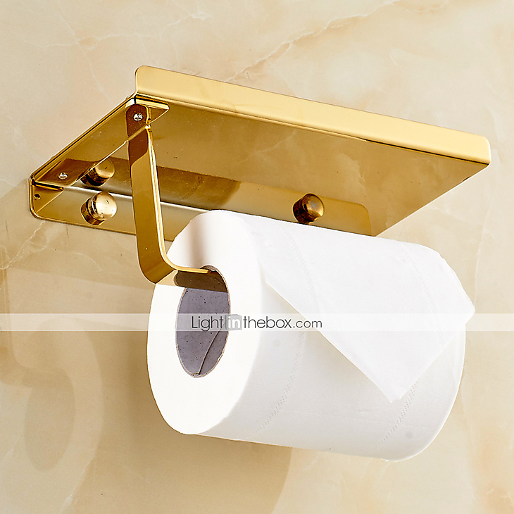 Gold Plated Finishing Solid Brass Material Toilet Paper Holder Bathroom Mobil