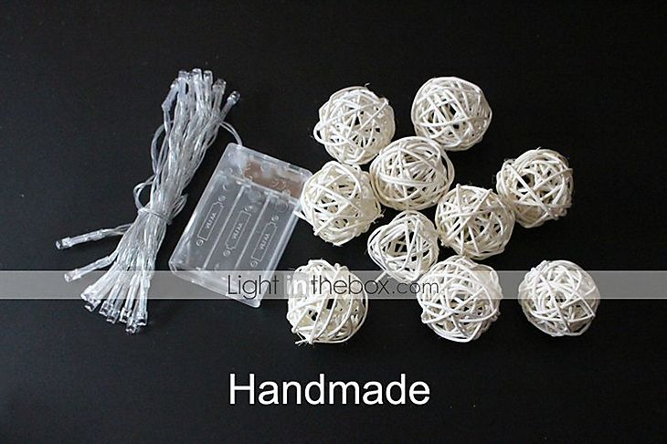 Ivory White Handmade Rattan Balls String Lights for Fairy Party & Patio Decor Party(20 PCS ...