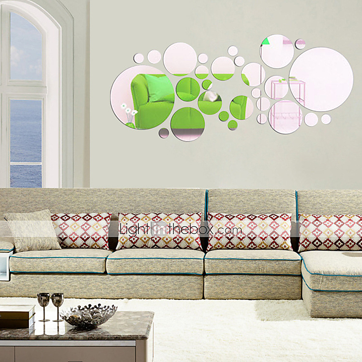 Round Shaped Wall Decor : D round shape wall stickers diy mirror