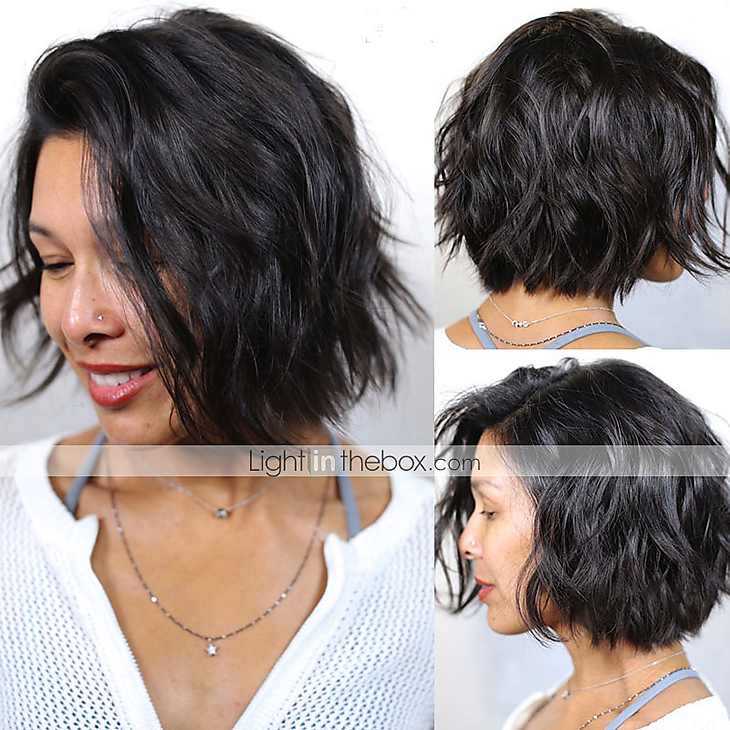 Brazilian Short Bob Virgin Human Hair Wigs Water Wave Wigs