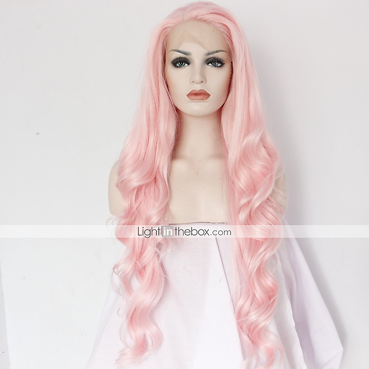 Best Natural Looking Long Pink Synthetic Wavy Lace Front