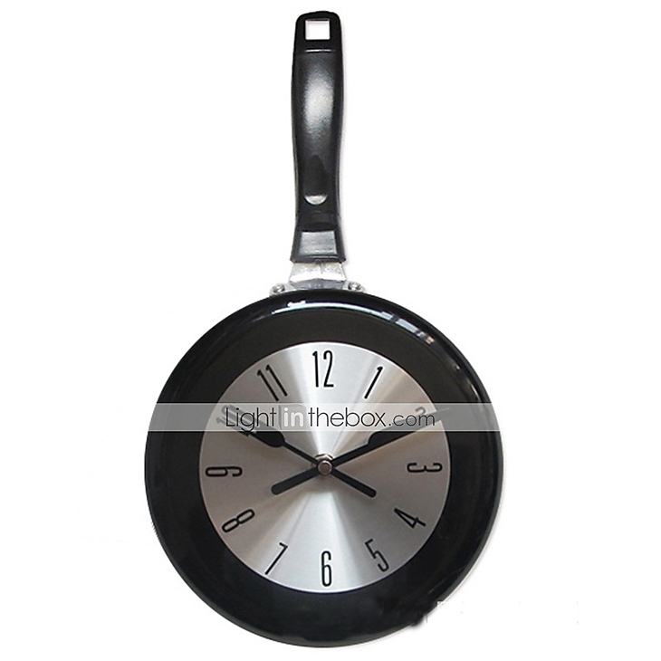 1pc high quality wall clock metal frying pan design 8 39 39 clocks kitche - Horloge murale decorative ...