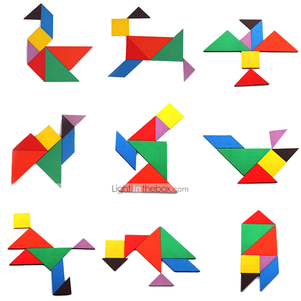 Tangram Educational Toy Jigsaw Puzzle Wooden Puzzles