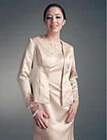 Women's Wrap Coats/Jackets Long Sleeve Lace Champagne Wedding / Party/Evening V-neck Beading / Lace Open Front