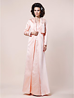 Women's Wrap Coats/Jackets Long Sleeve Satin Pearl Pink Wedding / Party/Evening Shawl Collar  Beading Open Front