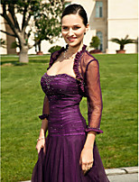 Women's Wrap Shrugs Long Sleeve Tulle Grape Wedding / Party/Evening Scalloped-Edge Beading Open Front