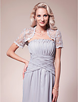 Women's Wrap Shrugs Short Sleeve Lace Silver Wedding / Party/Evening Wide collar 39cm Lace Open Front