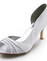 Women's Heels Spring / Summer / Fall / Winter Peep Toe Silk Wedding Stiletto Heel Ruffles White