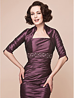 Women's Wrap Shrugs Half-Sleeve Taffeta Grape Wedding / Party/Evening Wide collar 39cm Draped Open Front