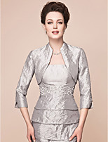 Women's Wrap Shrugs 3/4-Length Sleeve Taffeta Silver Wedding / Party/Evening Wide collar 39cm Draped Open Front