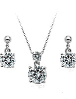 Women's Elegant Shiny Zircon Necklace & Earrings Set Wedding Jewelry Set
