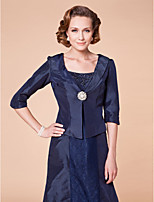 Women's Wrap Coats/Jackets Half-Sleeve Taffeta Dark Navy Wedding / Party/Evening Shawl Collar 39cm Button Clasp
